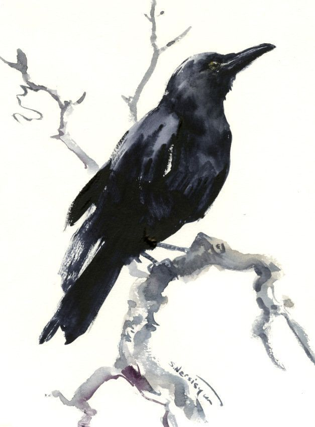Minimalist Raven Tattoo: Raven Artwork Original Watercolor Art, Raven Painting