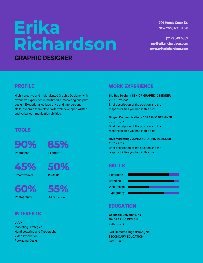 45++ Infographic resume template free Format