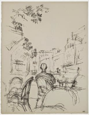 Mignonne Allons Voir Si La Rose Alberto Giacometti Terrace Of A Cafe I Plate 123 For Paris Sans Fin C 1958 1965 Lito In 2020 Alberto Giacometti Drawings Art