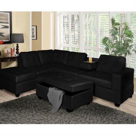 80630 black sectional with drop down cup holder Sectional Sofa