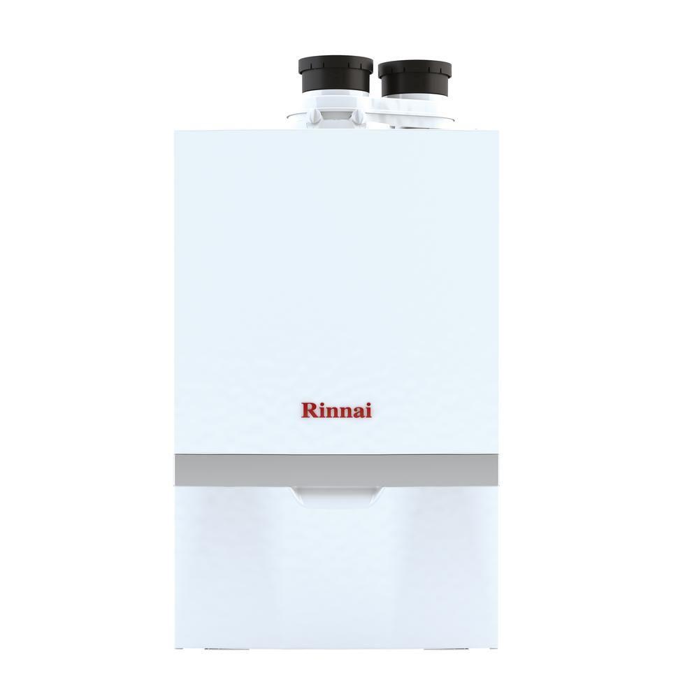 Rinnai M Series Natural Gas Condensing Boiler Tankless Water Heater With 160 000 Btu Input White Hydronic Heating Water Boiler Baseboard Heating