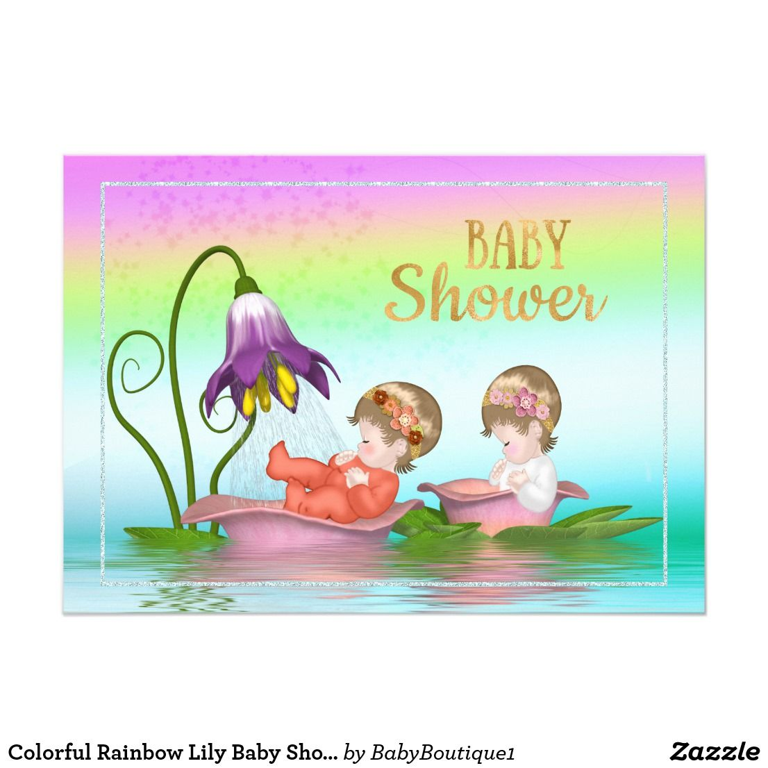 Colorful Rainbow Lily Baby Shower Invitation In 2018 Twin Babies