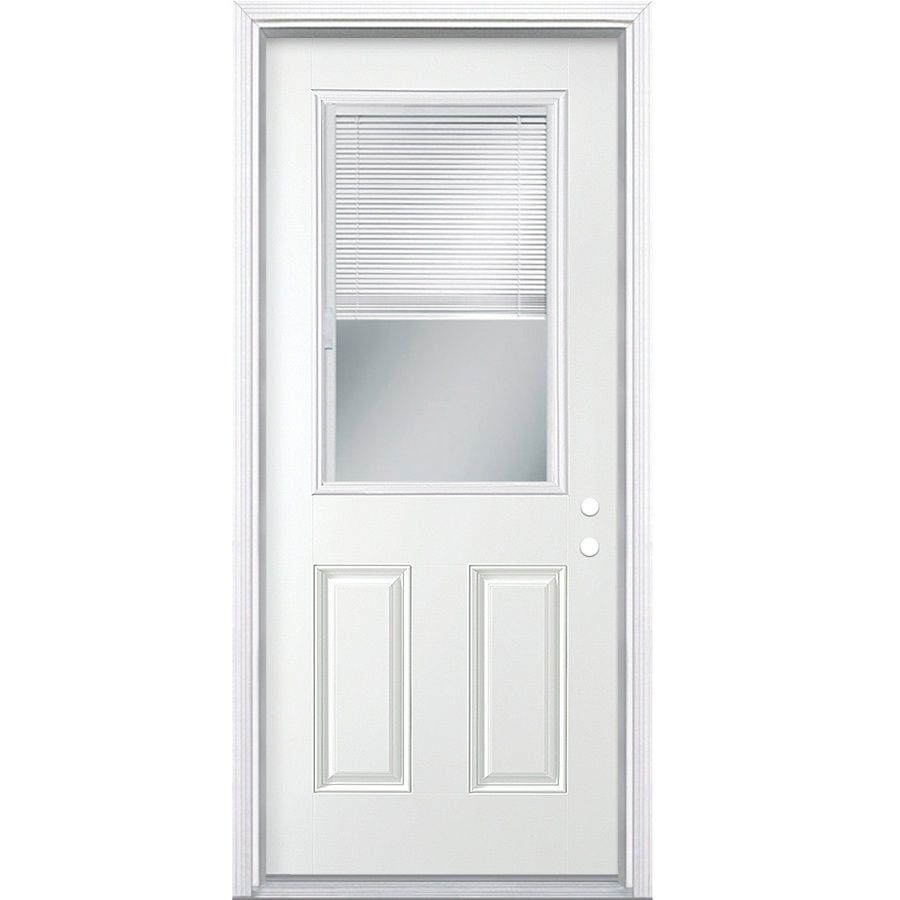 Masonite Decorative Glass Left Hand Inswing Primed Steel Prehung Double Entry Door With Insulating Core Common 30 In X 80 In Mini Blinds Entry Doors Masonite