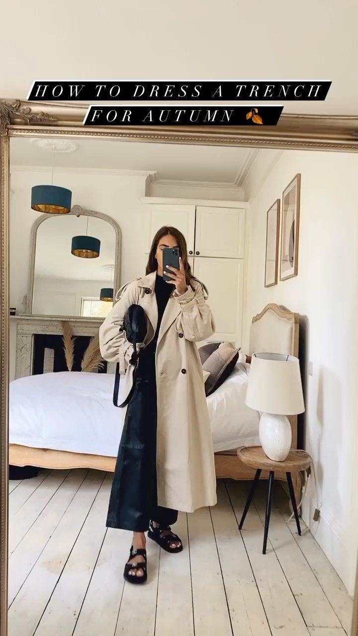 _jessicaskye on Instagram: How to dress a trench for autumn 🍂 Trench coat H&M 🧥 #reels #autumnvibes🍁 #minimalstyle #minimalism #whatiwore #frenchfashion…