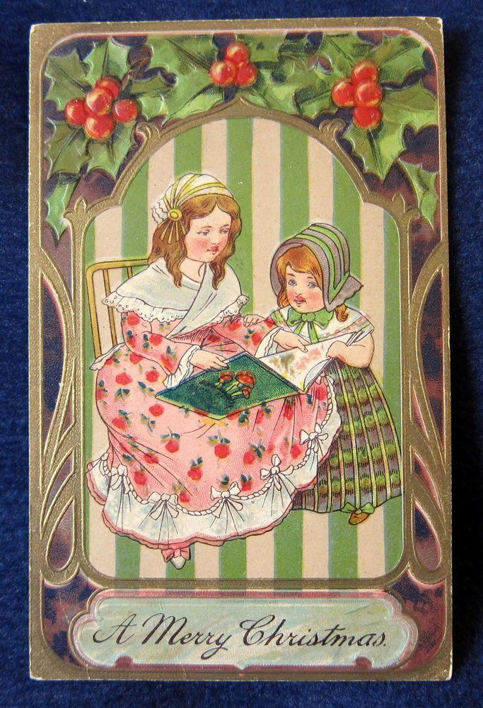 Christmas Victorian Girls Reading--Vintage 1911 PFB Postcard--Granville IL #Christmas