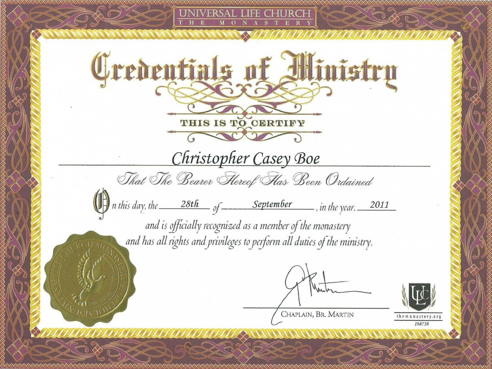 Browse Our Example Of Minister Ordination Certificate Template Certificate Templates Birth Certificate Template Certificate Of Completion Template