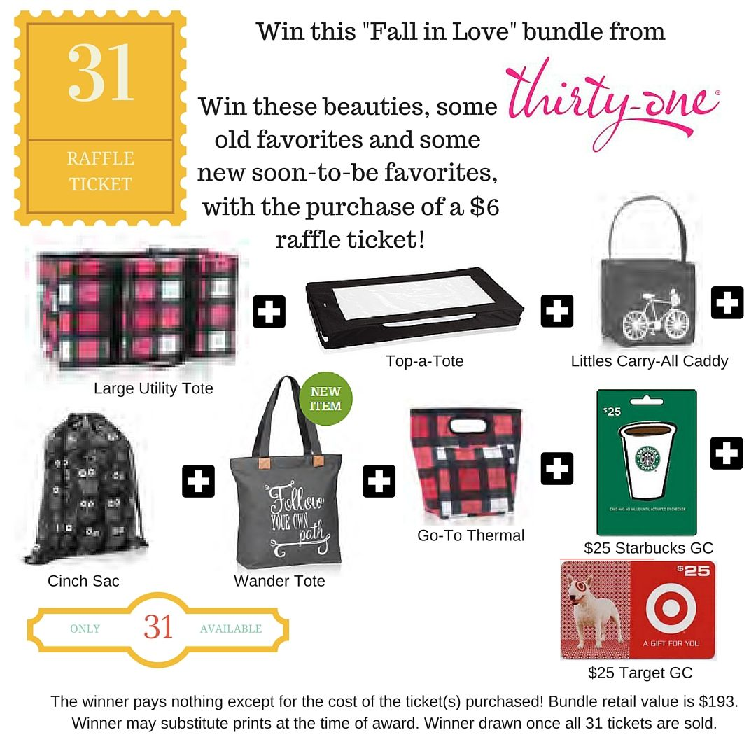 Message me on FB to grab a ticket for this amazing Thirty-One raffle ...