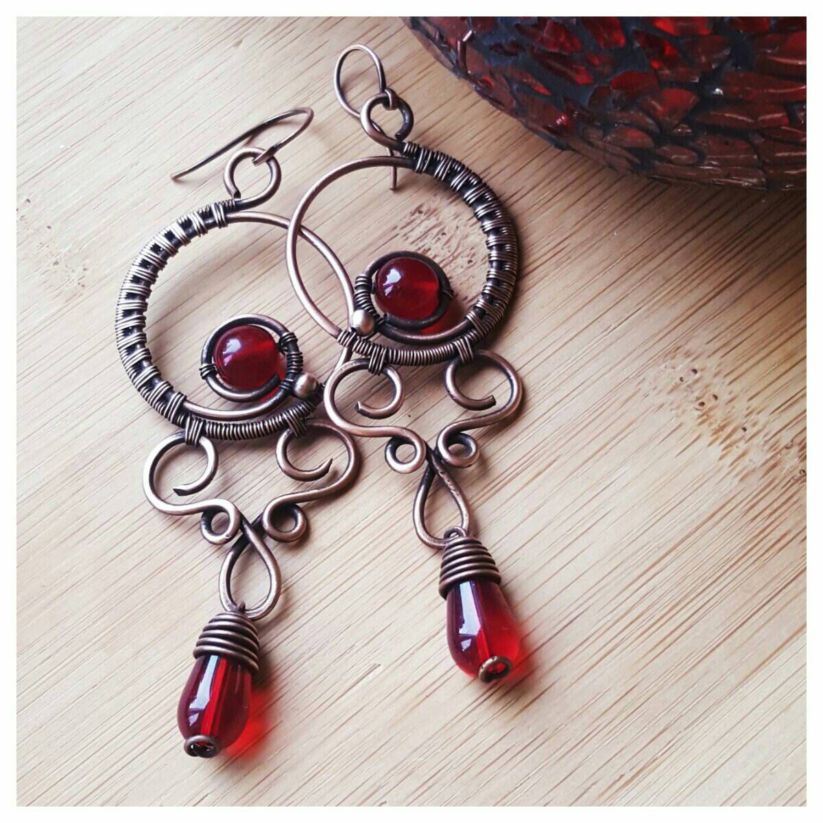 Deep red chandelier earrings wire wrapped crystal earrings red deep red chandelier earrings wire wrapped crystal earrings red crystal chandelier victorian earring copper wire dangle earring handmade aloadofball Image collections