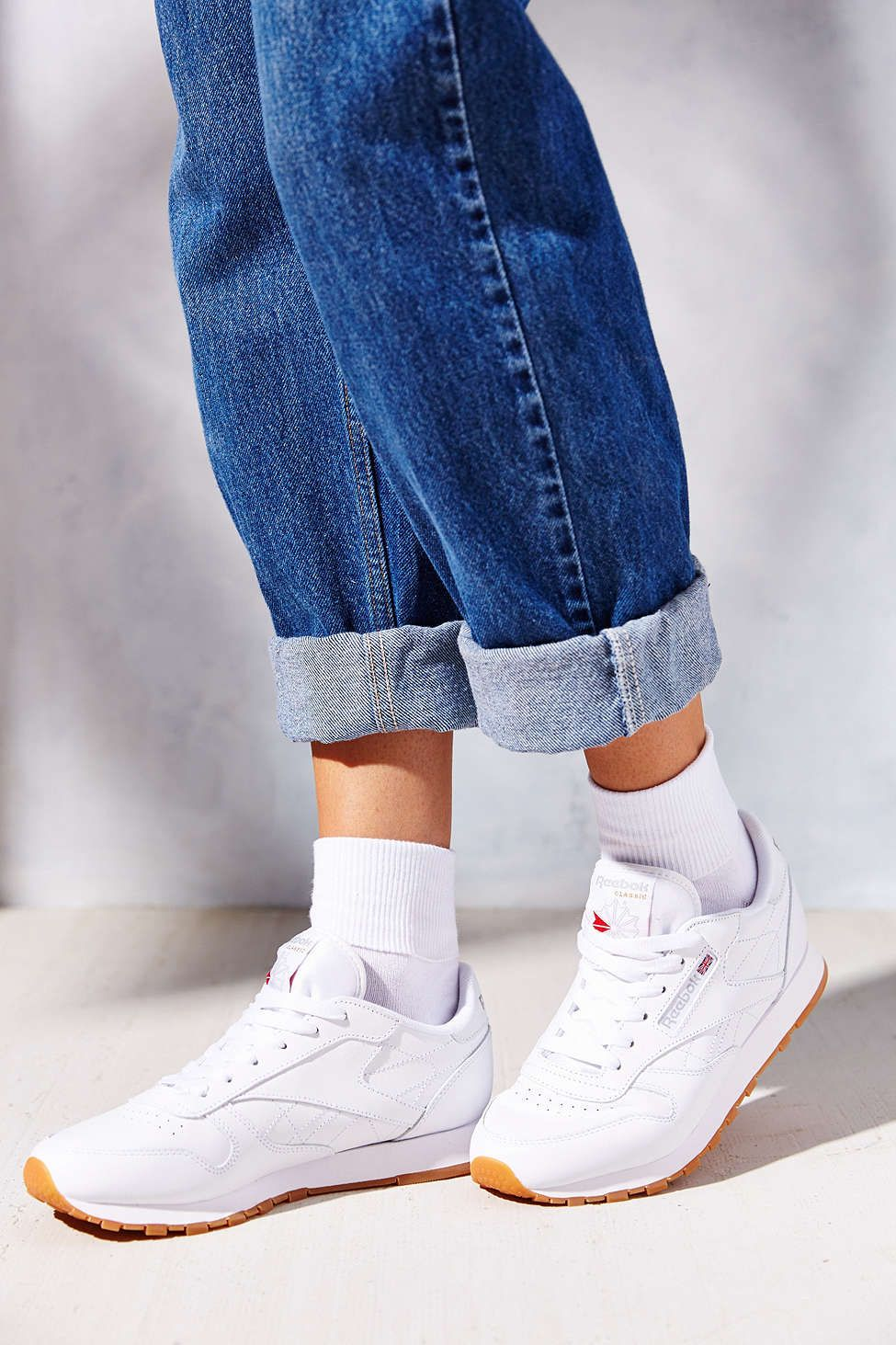 f345d2e9efbdf5 Classic gum-sole sneaker in white by Reebok size 6. Urban Outfitters ...