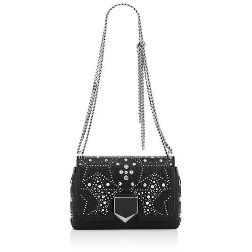 64d652fd8bc JIMMY CHOO LOCKETT PETITE Black Mix Grainy Leather Shoulder Bag with  Graphic Star Studded Embellishment.  jimmychoo  bags  shoulder bags  leather
