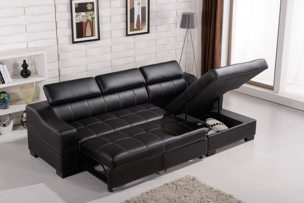 Modern Black Leather Sofa Bed And Loveseat Set