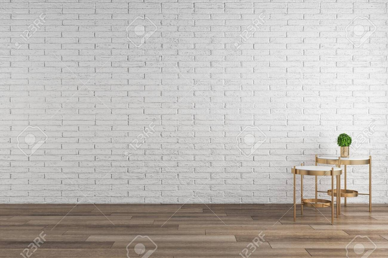 Modern Interior With White Brick Wall Wooden Floor And Decorative Furniture And Plant Mock Up 3d Rendering White Brick Walls Modern Interior Wooden Flooring