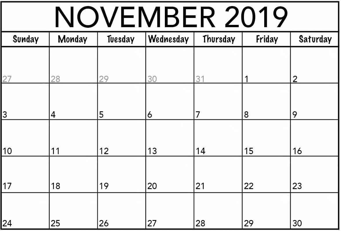 Monthly November Calendar Daily Weekly Worksheet
