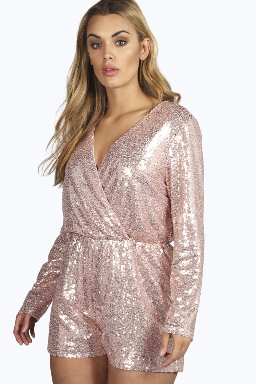 1ee16287c04 Plus Size Sequin Wrap Front Playsuit (up to size 20)