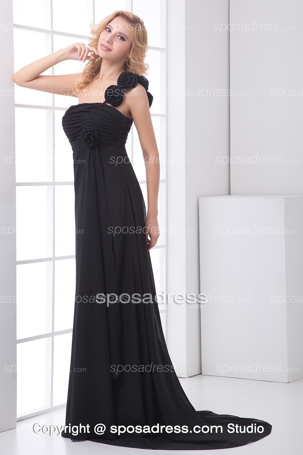 Glamorous black chiffon long bridesmaid dress with floral one glamorous black chiffon long bridesmaid dress with floral one shoulder ombrellifo Gallery