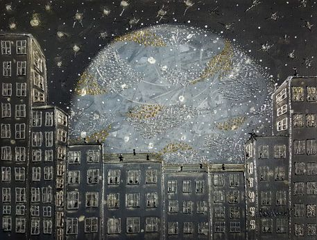 'CITY MOON' by marachowska on artflakes.com as poster or art print $26.13