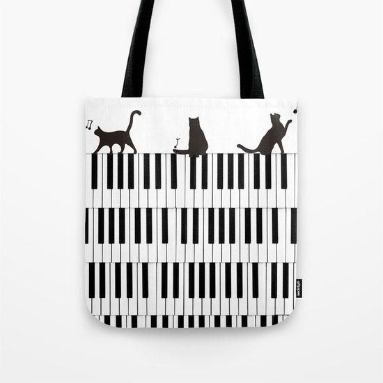 Piano Music Tote Bag Cats Gift Musician Lover 13x13 16x16 18x18 Women Keyboard Art Student Teacher Cute Orchestra