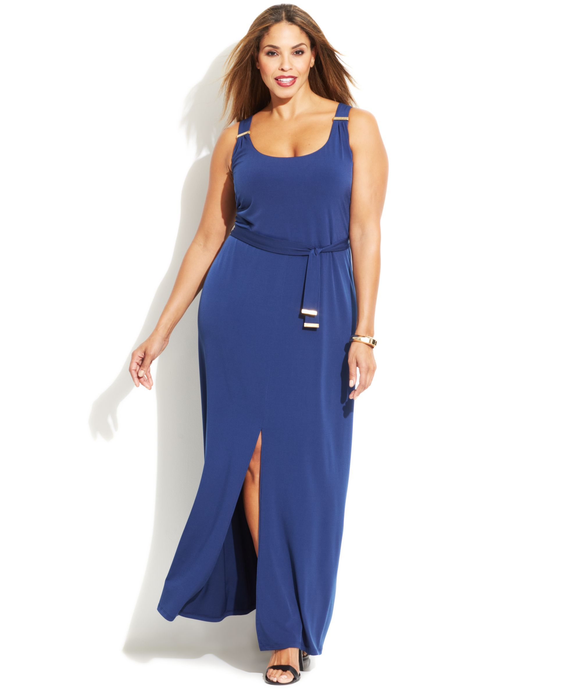 Michael Michael Kors Plus Size Sleeveless Belted Maxi Dress ...