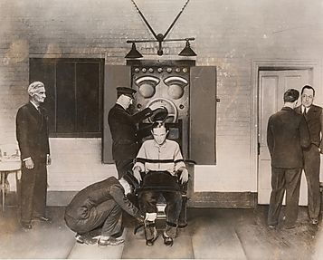 electric chair victim. bruno richard hauptmann being strapped in the electric chair. crime and evidence supporting chair victim