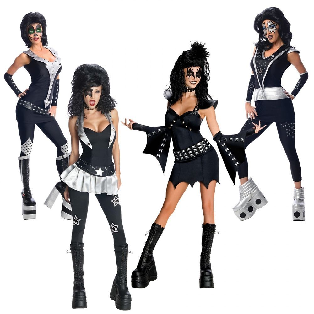 Halloween Rockstar.Kiss Costumes Adult Female 70s Rock Star Group Halloween Fancy Dress