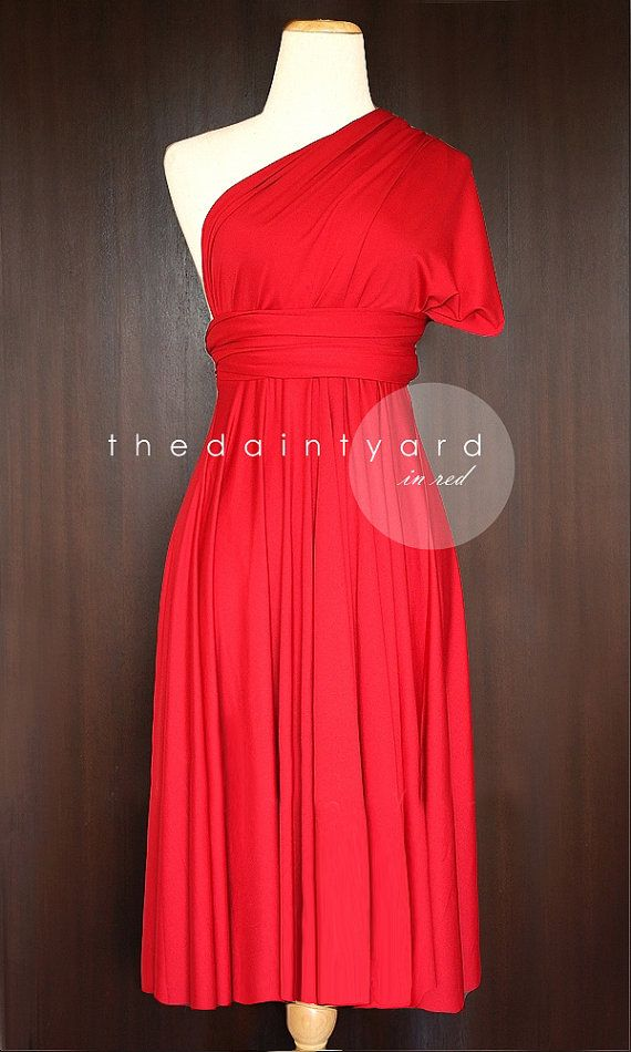 fea1db47e7526 TDY Red Short Straight Hem Bridesmaid Dress Convertible Dress ...