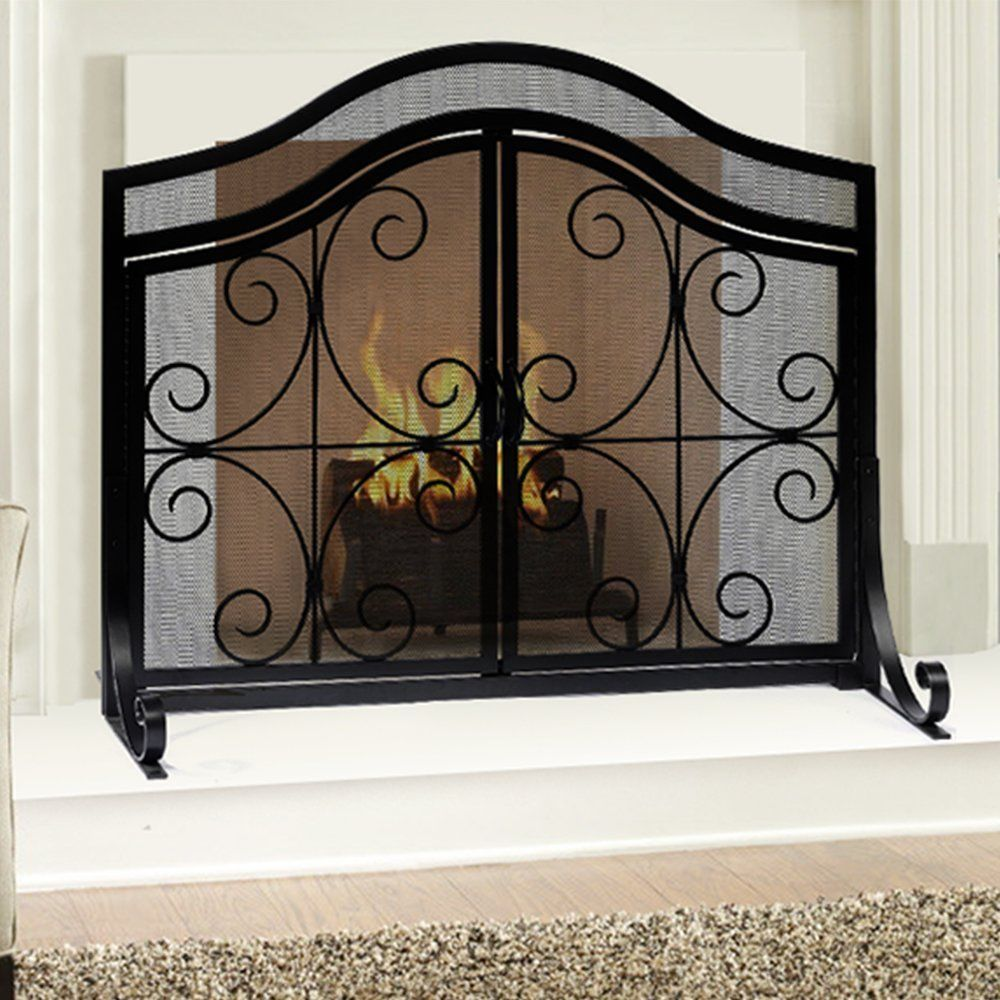 Fireplace Screen With Doors Large Flat Fire Mesh Baby Safe Wrought Iron Steel Home Wrought Iron Fireplace Screen Fireplace Screens With Doors Fireplace Screen