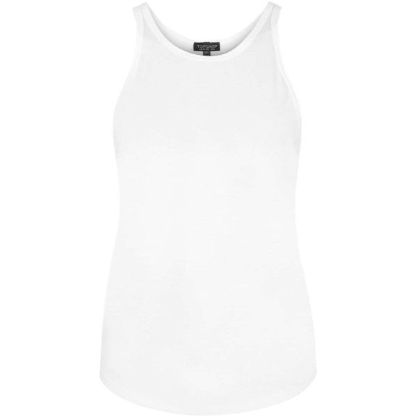 TopShop Skinny Fit Vest ($8.46) ❤ liked on Polyvore featuring tank tops, white and topshop