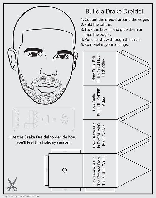 Click Here To Download The Build A Drake Dreidel Activity Cutout Page Print It Out Complete Spin Get In Your Feelings