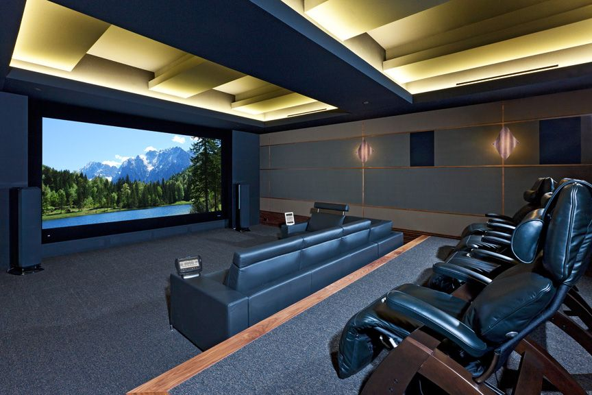 Large Screen Custom Home Theater With Led Lit Coffered Ceiling