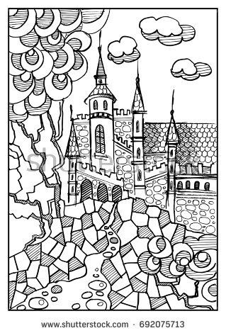 Fantasy landscape fairy tale castle old medieval town hand drawn fairy tale castle old medieval town hand drawn sketch coloring stopboris