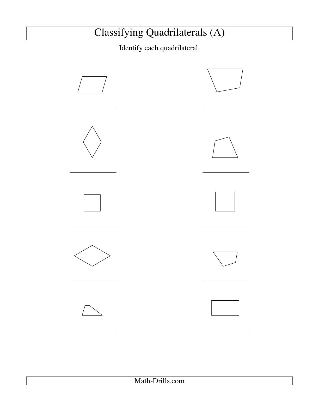 The Classifying Quadrilaterals Squares Rectangles