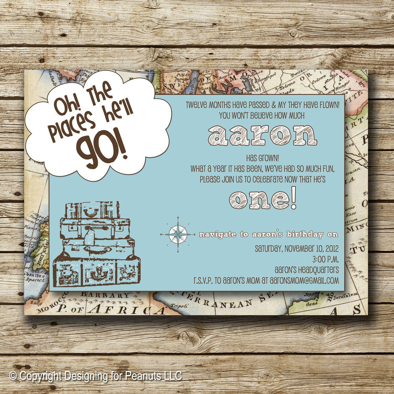 World Traveler Invitation - blue | Traveler Birthday Invitation ...