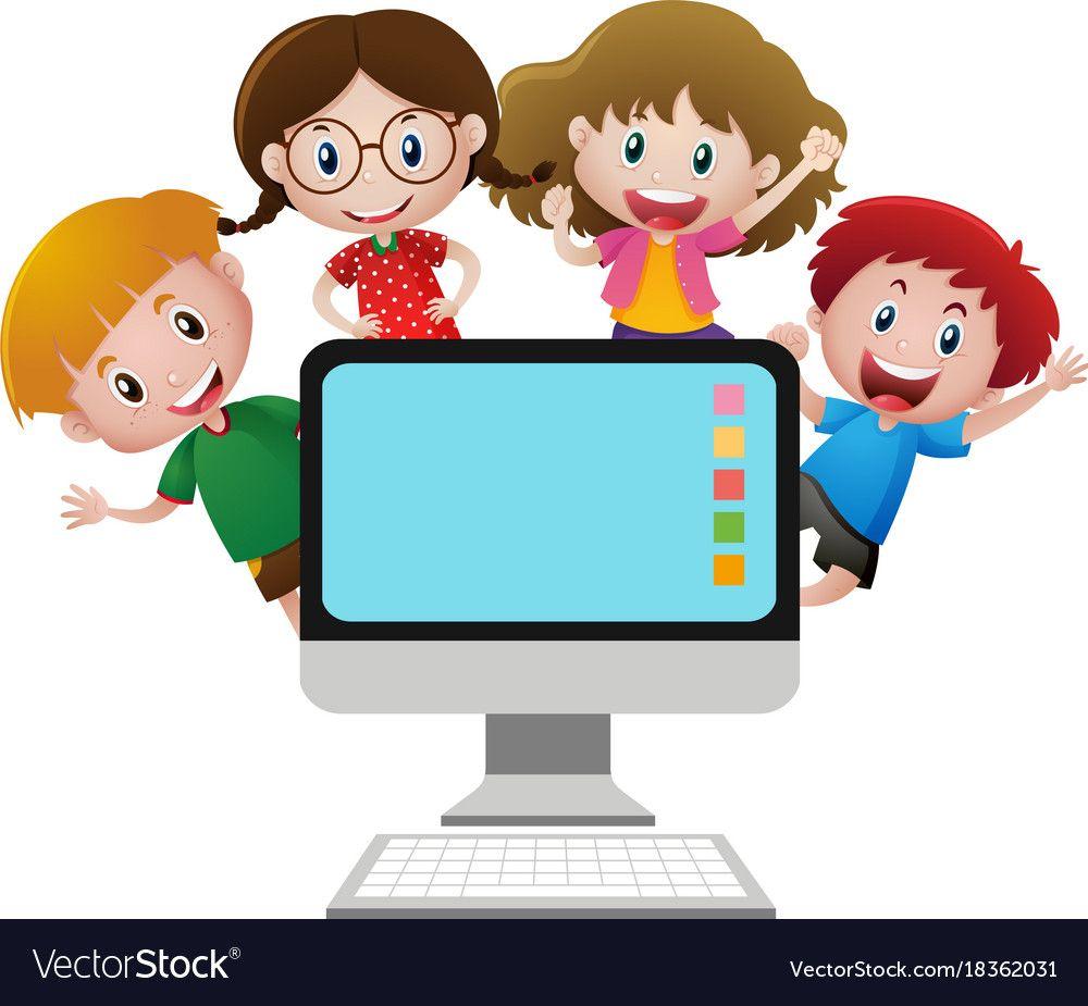 Four happy children behind computer screen illustration