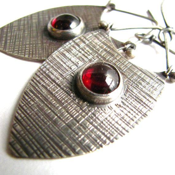 Garnet Earrings - Sterling Silver Shield Earrings - Metalsmithed Artisan Jewelry - Silver Tribal Earrings