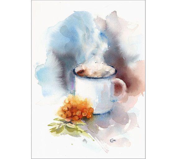 Rowan Berry Tea Original Watercolor Painting 8 X 11 5 Inches