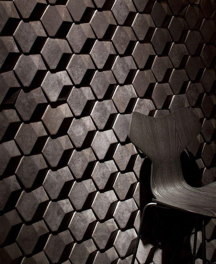Restaurant Interior Decorating in Golden Color Scheme pattern 3d hexagon concrete tiles & Restaurant Interior Decorating in Golden Color Scheme pattern 3d ...