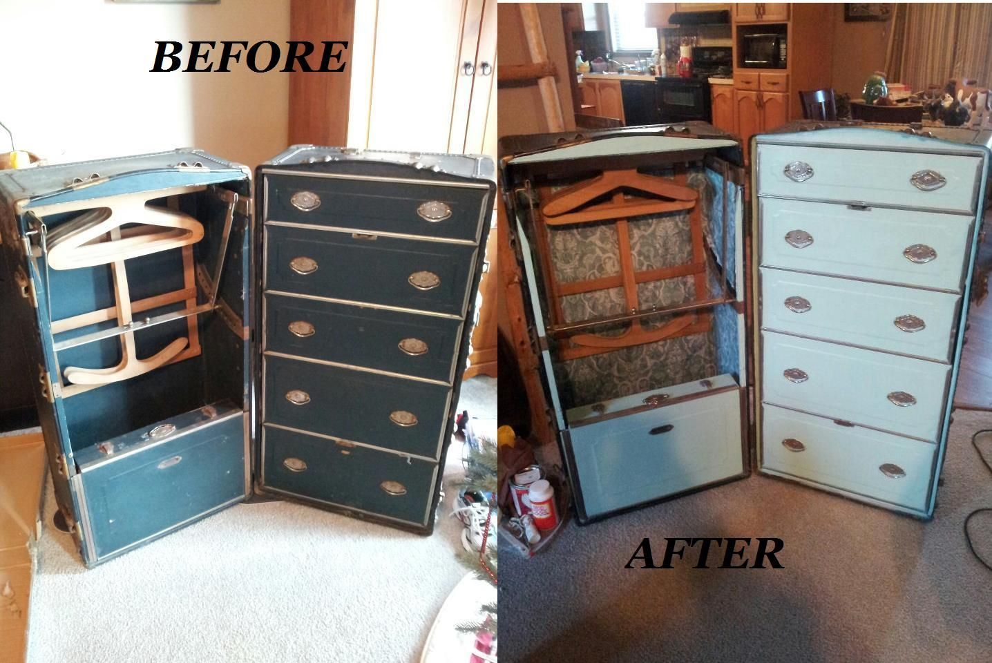 Before And After Wardrobe Trunk Steamer Trunk Makeover Steamer