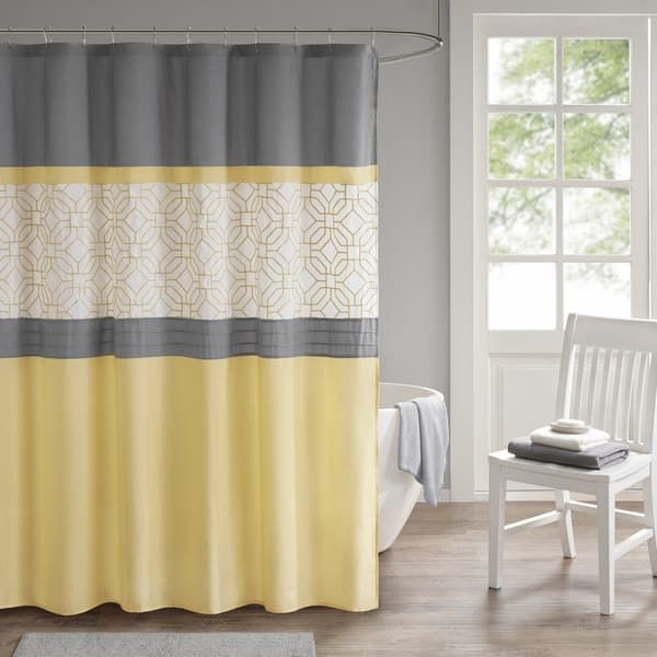 510 Design Shane Yellow Gray Embroidered And Pieced Shower