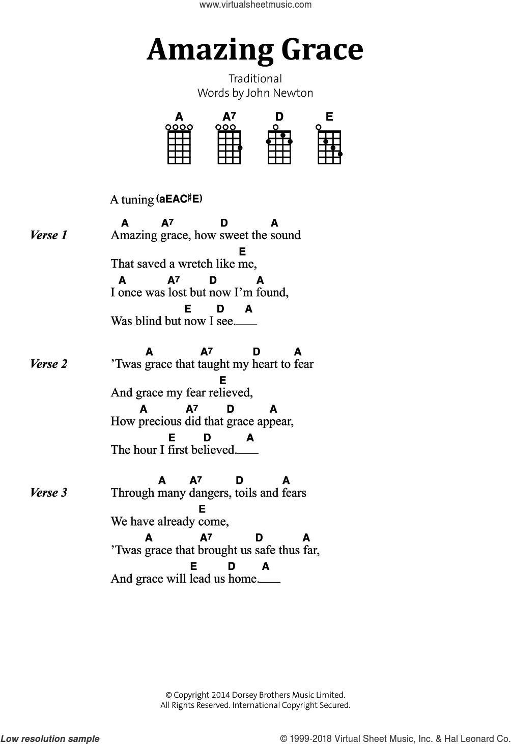 Newton   Amazing Grace sheet music for banjo solo lyrics,chords ...
