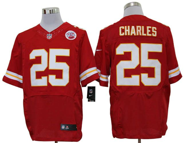 Men's NFL Kansas City Chiefs #25 Jamaal Charles Red Elite Jersey