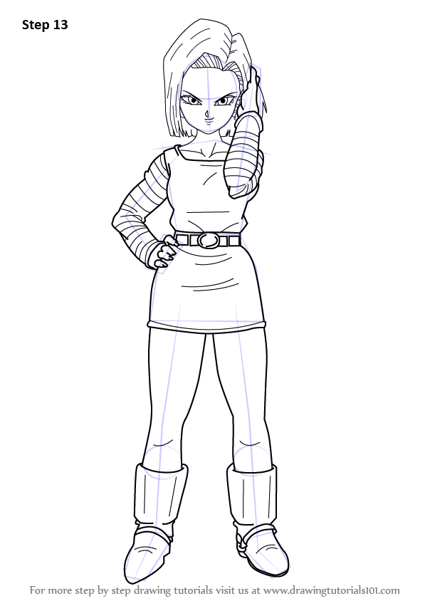 Step By Step How To Draw Android 18 From Dragon Ball Z Drawingtutorials101 Com In 2021 Dragon Ball Dragon Ball Z Dragon