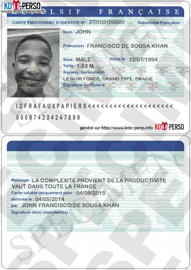 photo d identité pour carte d identité Creer votre fausse carte d'identite humoristique personnalise a