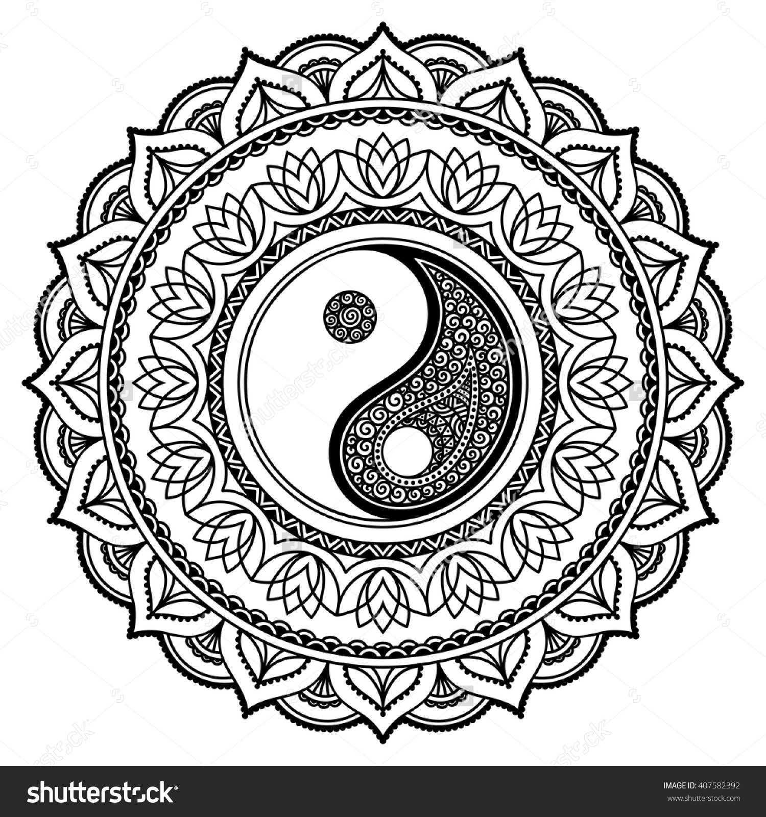 Vector henna tatoo mandala. Yin-yang decorative symbol ...