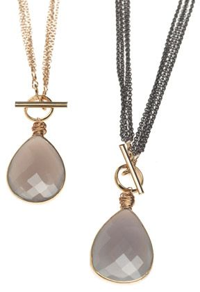 Moonstone gold and gun toggle necklaces (14K gold and mixed metals)