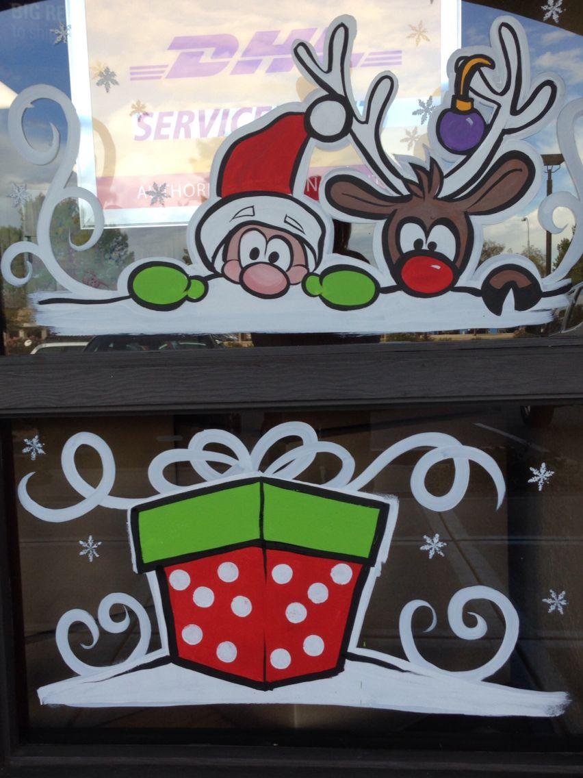 Christmas drawings on the windows
