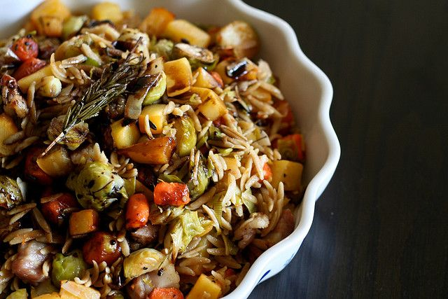 warm winter vegetable salad (with bacon)