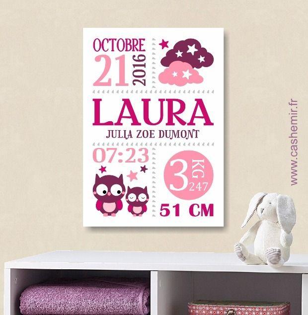 cadeau de naissance fille personnalis affiche de naissance d coration chambre b b enfant. Black Bedroom Furniture Sets. Home Design Ideas