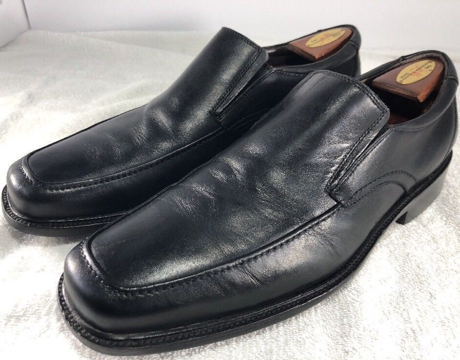 JOHNSTON AND MURPHY SHOES LOAFERS/SLIP ON BLACK LEATHER SIZE 11 M