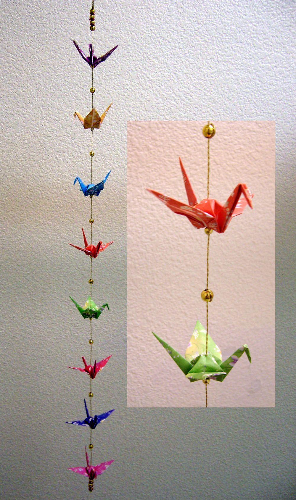 Origami crane crane origami craft ideas - Hanging Origami Cranes With Beads Google Search