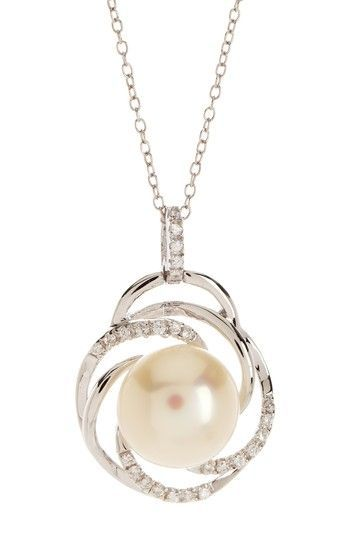 11.5-12mm White Freshwater Pearl & Pave CZ Pendant Necklace